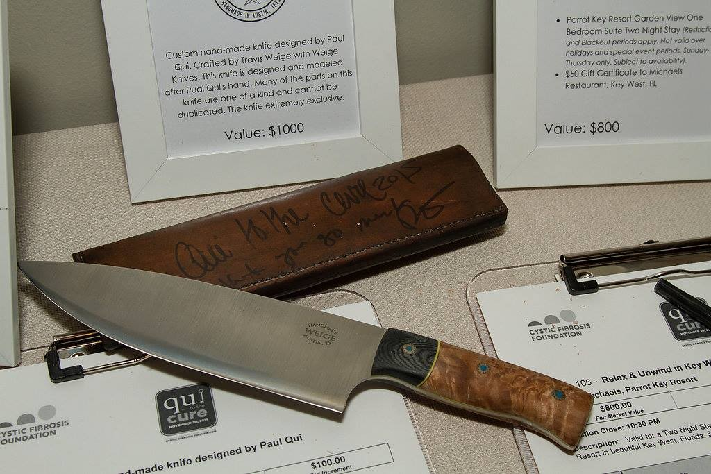 Weige Knife goes for big money at Qui to the Cure auction.