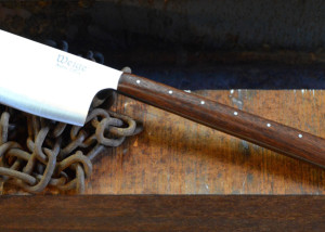 Custom cleaver / hatchet in 440c w/ a reclaimed mahagony handle. 12 inches overall.