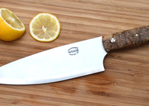 11 inch overall chef knife w/ 6.5 blade. Spalted maple handle.