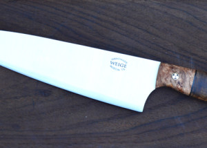 Custom chef in 440c w/ maple handle and maple bolster.