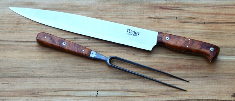 Custom slicer in desert ironwood and handmade mosaic pins. Includes refurbished, vintage fork.