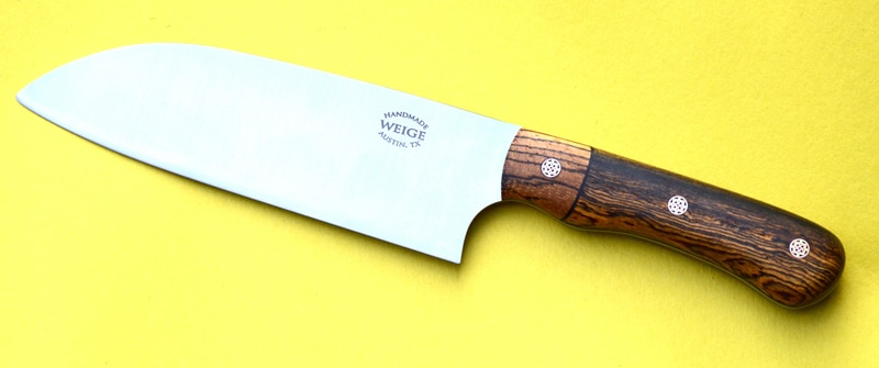 Custom santoku in bocote wood w/ handmade mosaic copper pins.