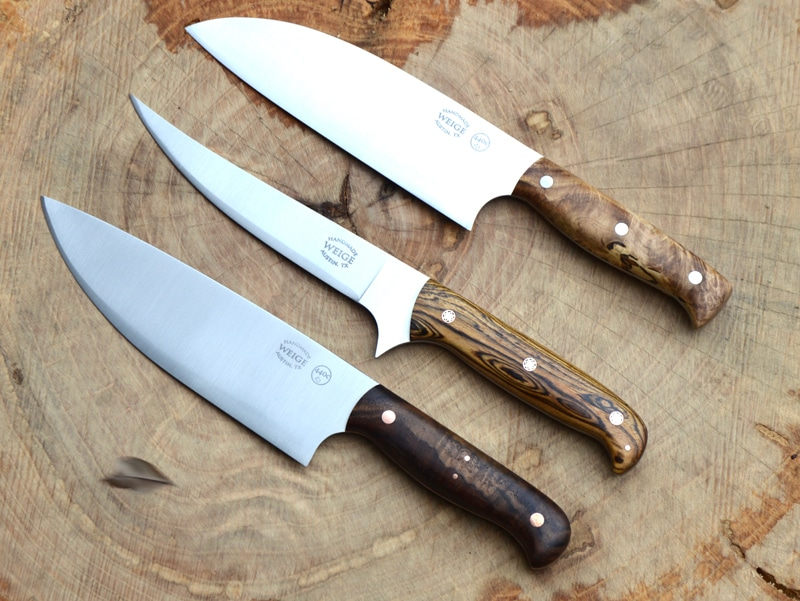 Set of 3 knives in maple, bocote and walnut.