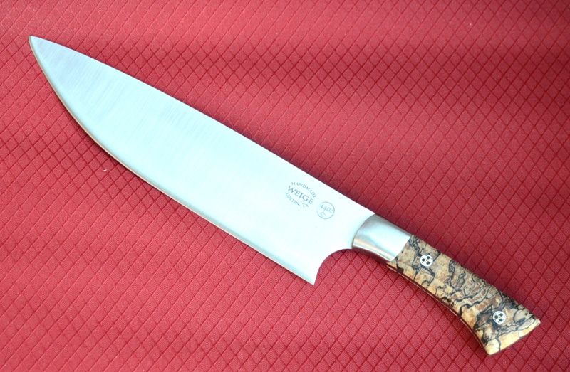 Texas pecan handle w/ stainless bolster. 8 inch custom chef knife.