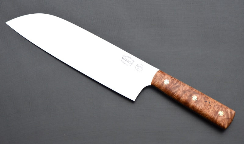 Custom santoku in 440c stainless w/ stabilized maple w/ handmade mosaic copper pins.