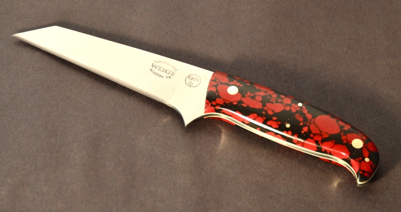 Custom boning knife w/ tanto blade, reconstituted stone handle.