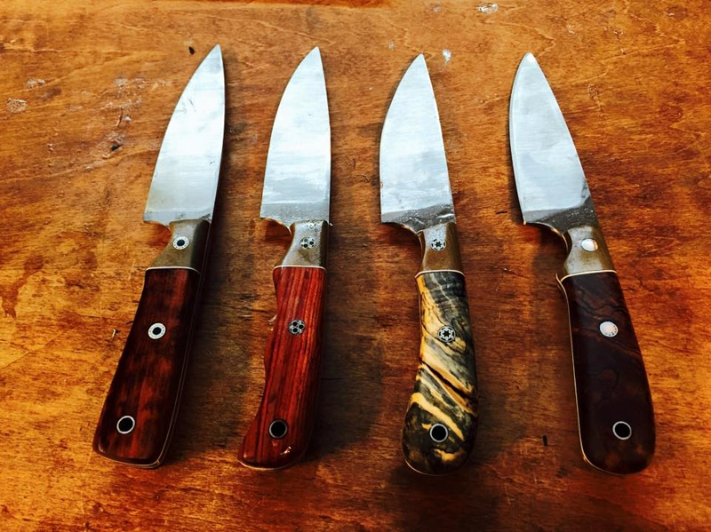 4 utility / outdoor knives for 4 brothers. Various woods. 4 inch blades.