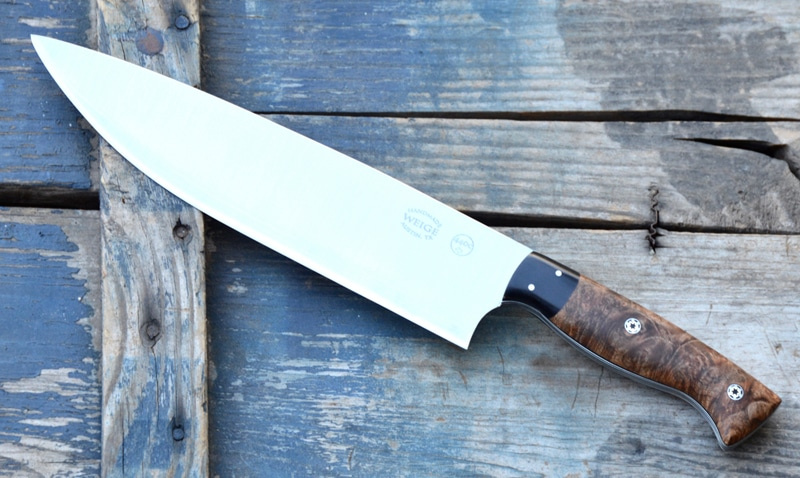 Custom chef in stabilized maple w/ a buffalo horn bolster.