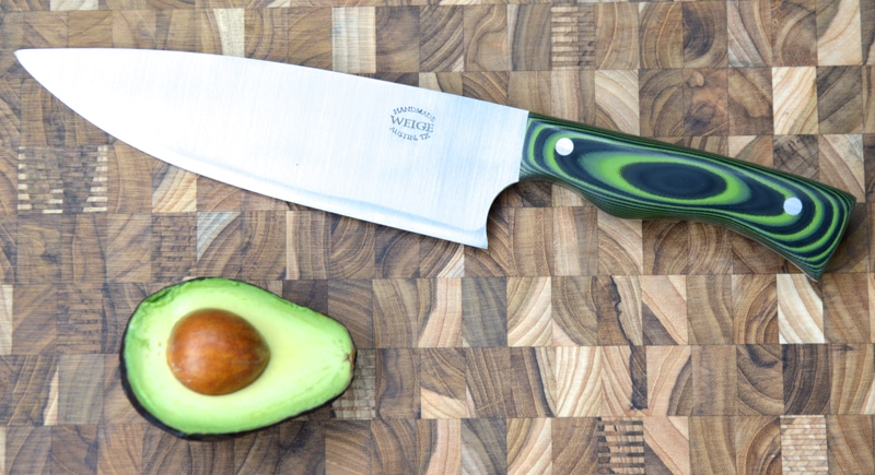 Custom chef in green / black G10. Featured in Tribeza Magazine.