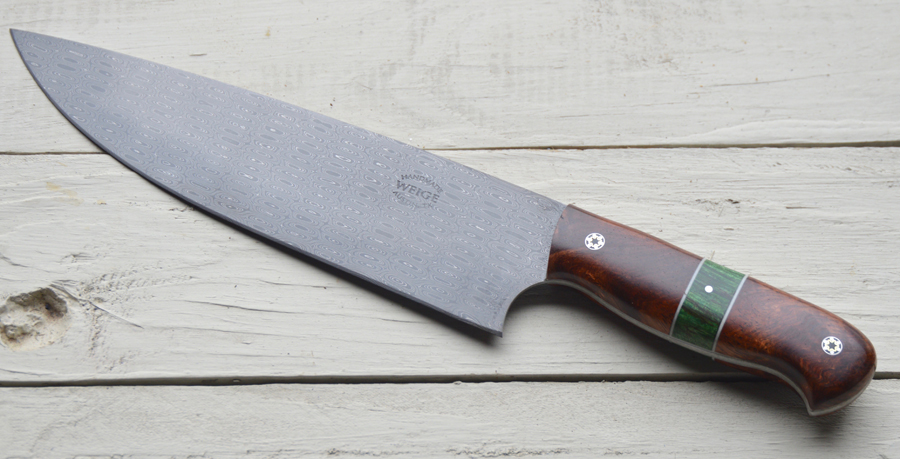 Finished a cool damascus chef knife.