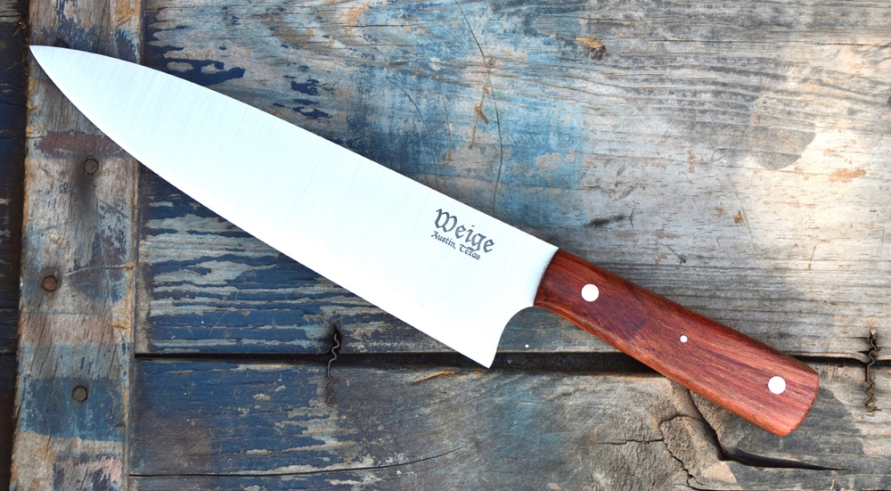 8 inch custom french cut chef in madrone.