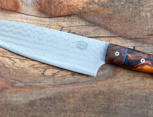 8.5″ chef in Devin Thomas damascus and ironwood.