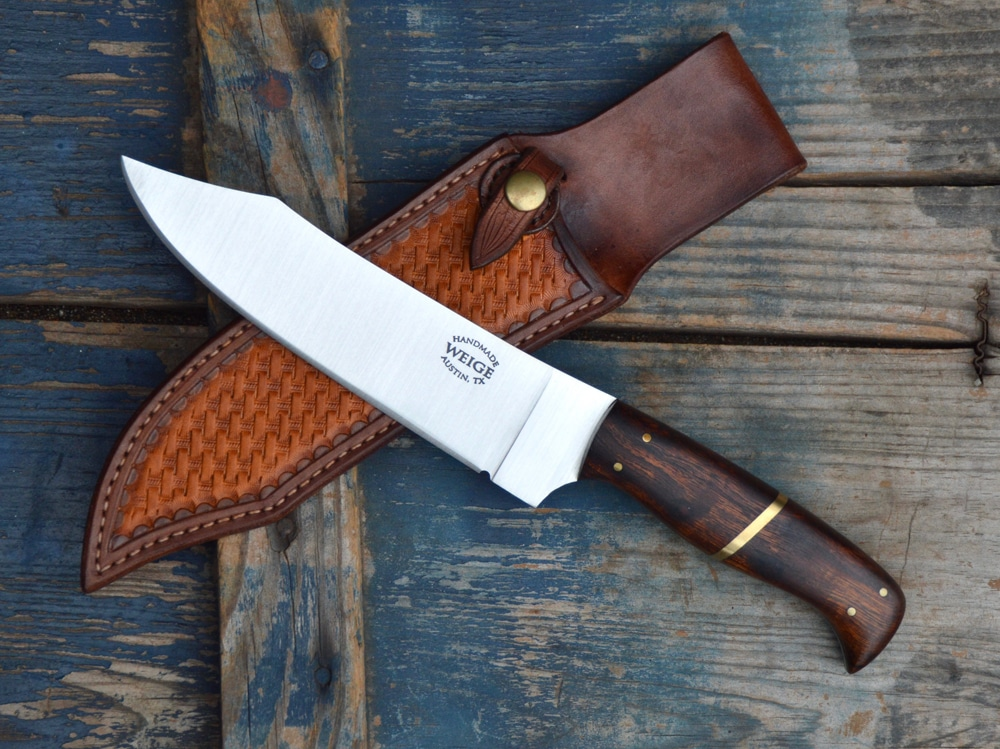5.5″ hunter / hiker in ironwood and brass.